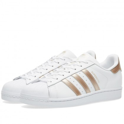 Adidas Damen Originals Superstar Schuhe Weiß/Gold BA8169